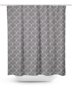 Circular Dot Pattern on Grey Shower Curtain