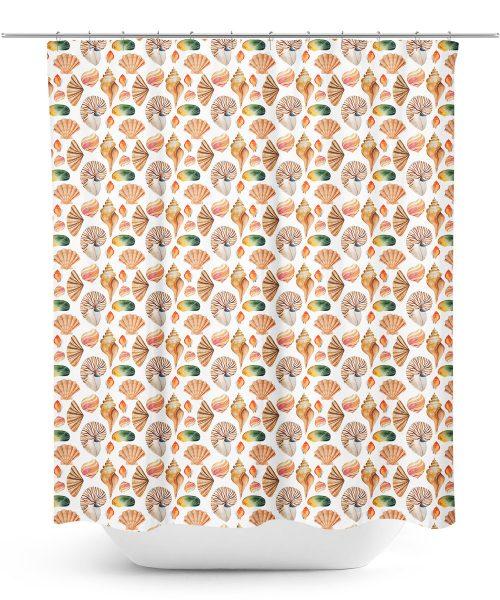 Seashell illustration shower curtain