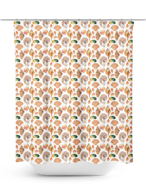 Seashell illustration shower curtain