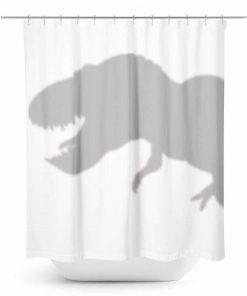 Dinosaur hiding behind shower curtain