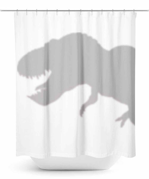 Dinosaur hiding behind shower curtain
