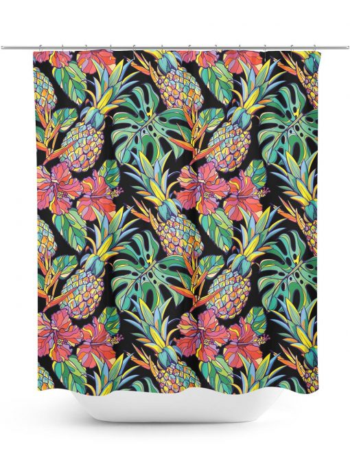 Pineapple and Palm Leaf Shower Curtain