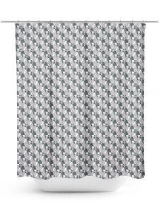 Modern grey lattice work pattern shower curtain