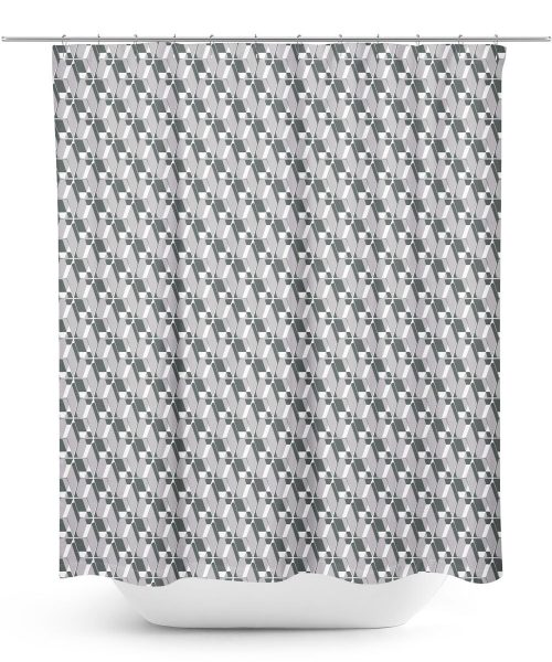 Modern grey lattice work pattern shower curtain