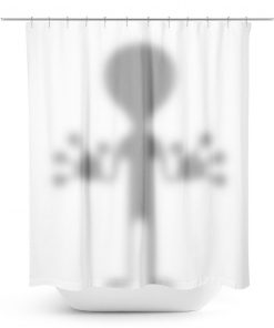 Alien Hiding behind the Shower Curtain