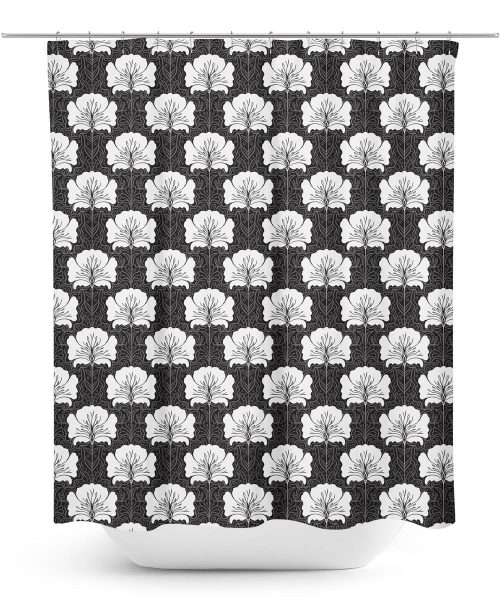 arts and crafts era poppy pattern shower curtain