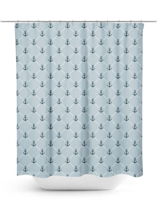 Anchor and chain pattern shower curtain