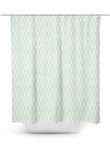 Aqua and Cream Ogee Pattern Shower Curtain