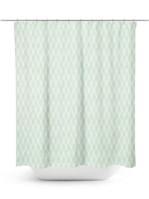 Aqua and Cream Ogee Pattern Shower Curtain