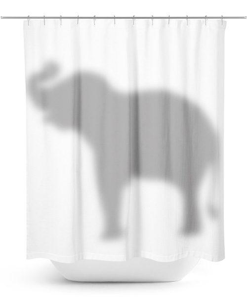 Elephant hiding behind Shower Curtain