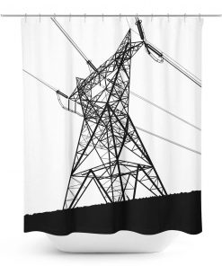 Silhouette Graphic of Power Cables Shower Curtain