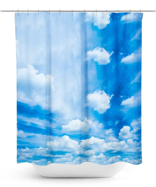 Blue sky with clouds photo shower curtain