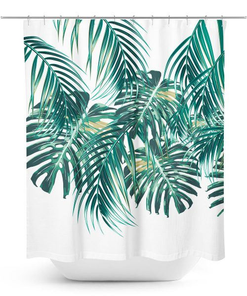 Tropical Palm Leaf Shower Curtain