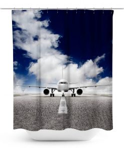Airplane on Runway Photo Shower Curtain