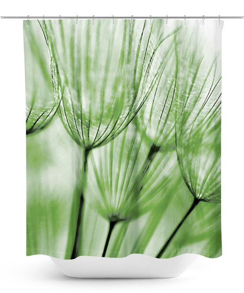 Dandelion macro photo shower curtain