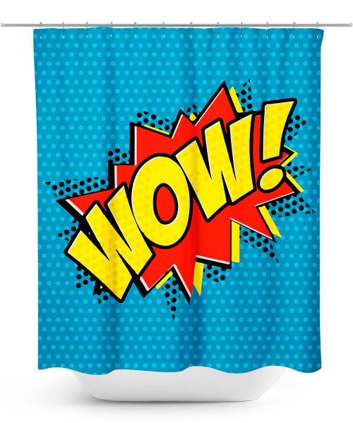 Cartoon Wow Graphic Shower Curtain
