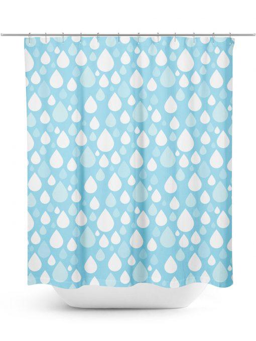 Cartoon Raindrops Pattern Shower Curtain