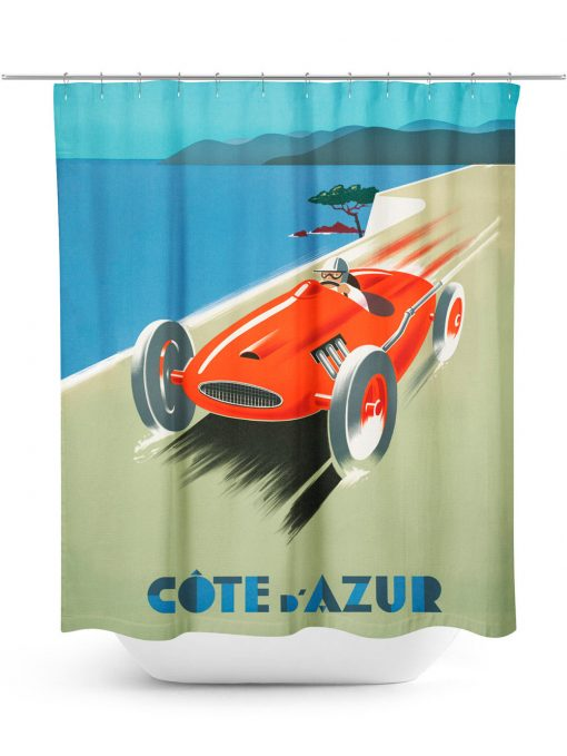 Vintage Car Racing Poster Shower Curtain