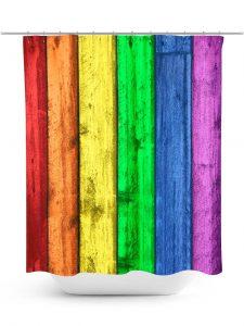 Rainbow Painted Fence Shower Curtain