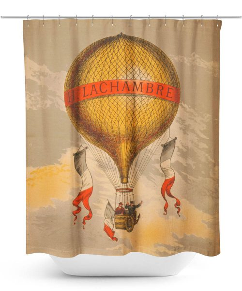 Vintage Advertising Hot Air Balloon Poster Shower Curtain