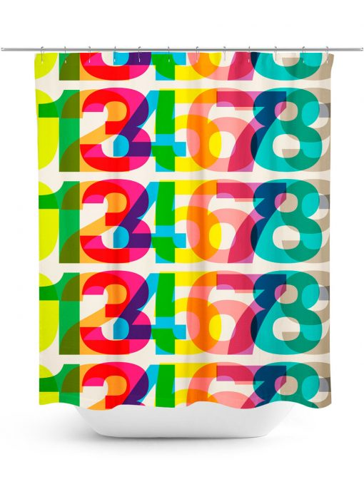 Helvetica Numbers In Rainbow Colors Shower Curtain