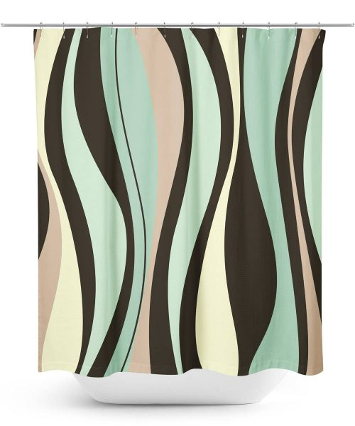 Mid-century wavy graphic Shower Curtain