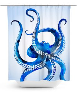 Blue Watercolor Octopus Shower Curtain