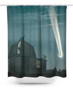 Vintage Illustration Night Sky with Comet Shower Curtain
