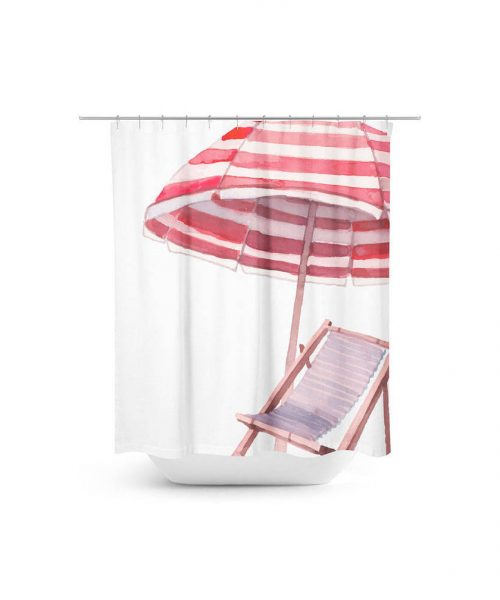 beach chair and umbrella scene shower curtain