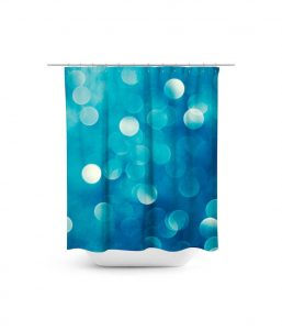 Blue bokeh glitter pattern shower curtain