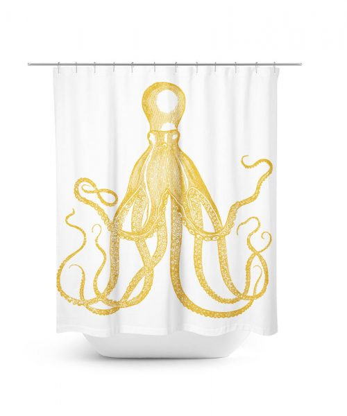 Vintage Gold Octopus Shower Curtain