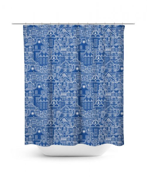 Line Drawing Illustration of Small Dutch Village Shower Curtain
