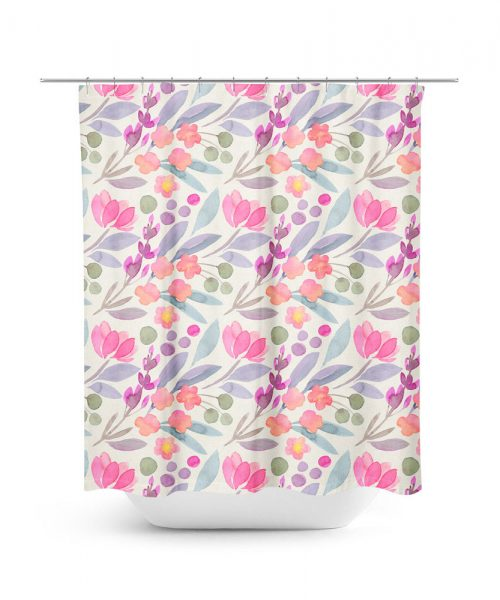 Tulip Flower Pattern Shower Curtain