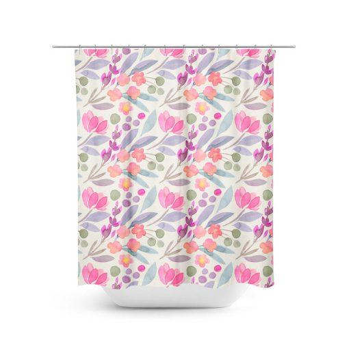 Tulip Flower Pattern Shower Curtain