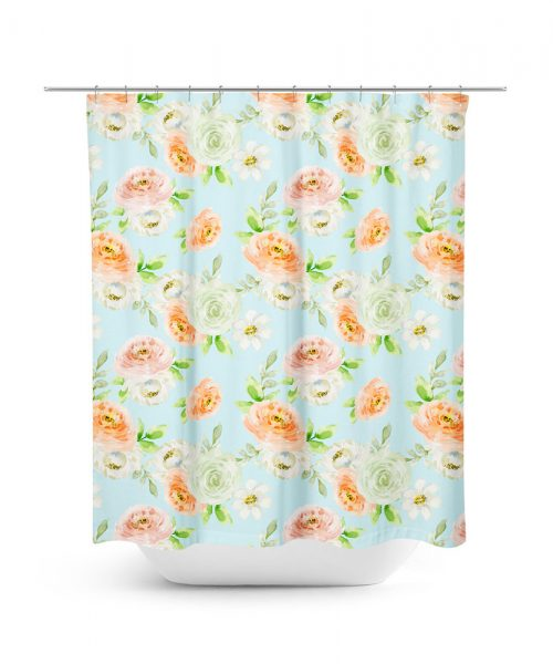 Camellia Floral Pattern Shower Curtain