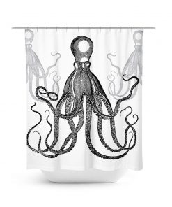 Three Octopus Graphic Shower Curtain
