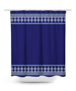 Moroccan inspired border print shower curtain