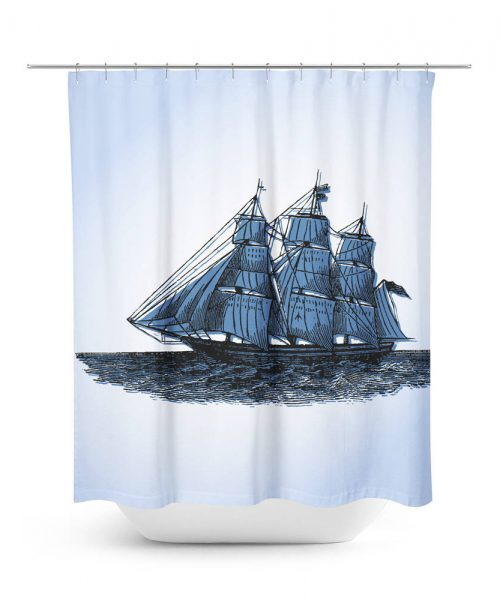 Vintage Sailing Ship Graphic Shower Curtain