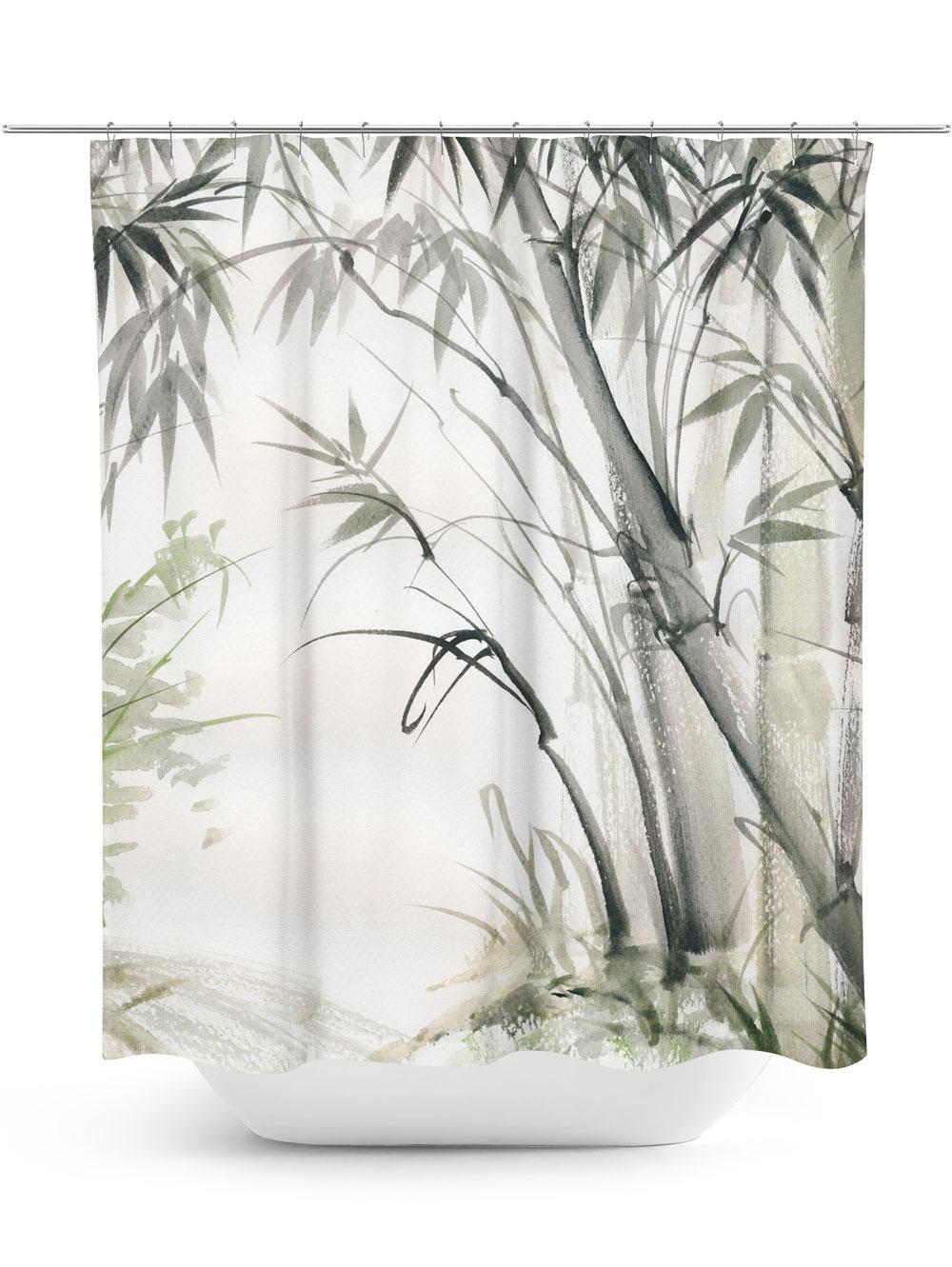 Bamboo Print Shower Curtain