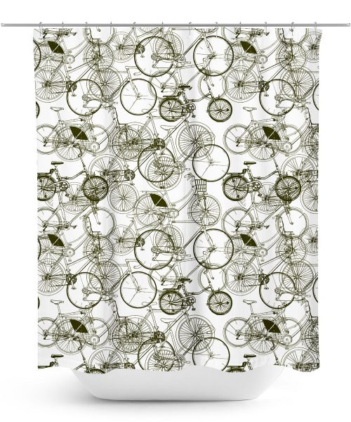 Sketches of Bicycles Pattern Shower Curtain