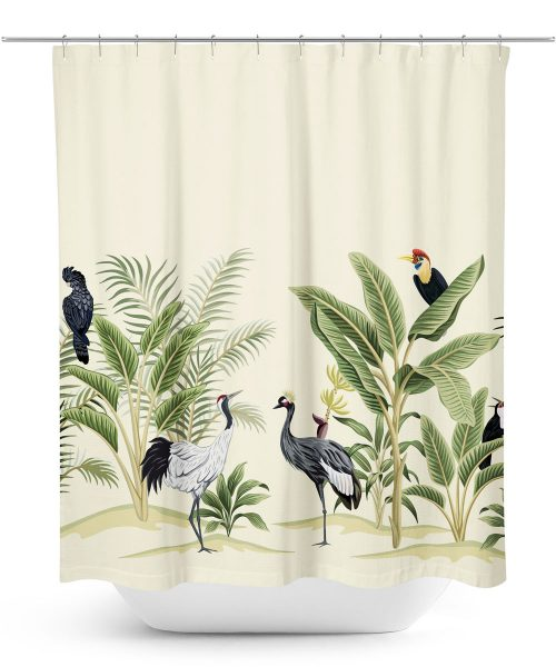 Birds in Desert Oasis Shower Curtain