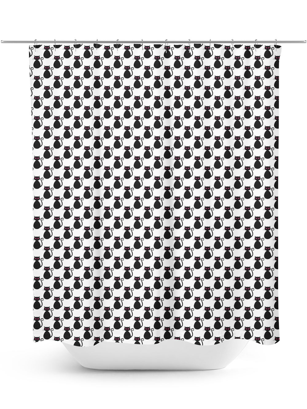 Black Cats Pattern Shower Curtain