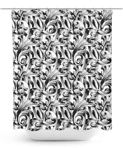 Black Ornamental Vine Pattern Shower Curtain