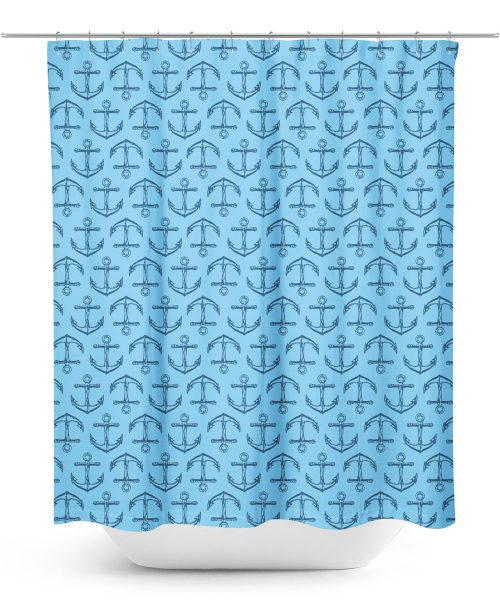 Blue Anchor Pattern Shower Curtain