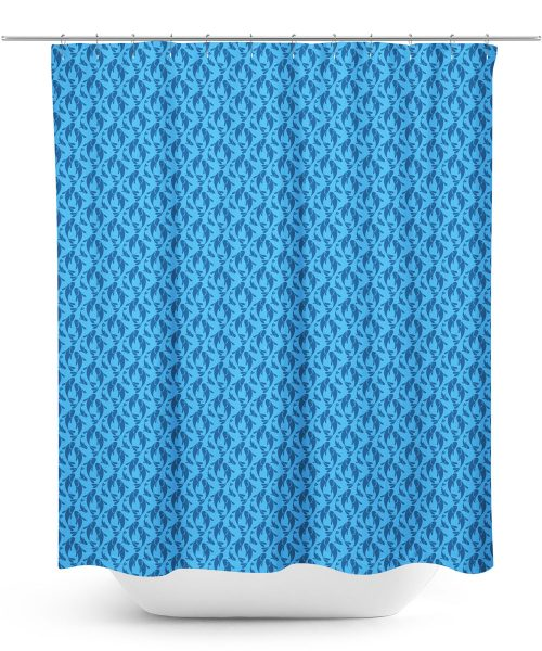 Blue Fish Graphic shower Curtain
