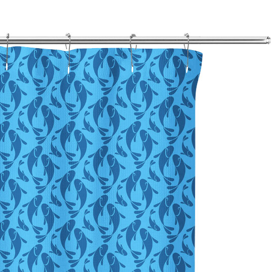 Blue Fish Graphic shower Curtain close up