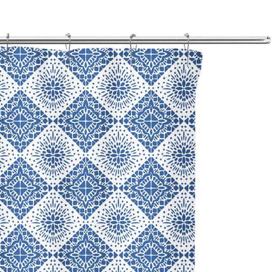 Blue Tile Pattern Shower Curtain close up image
