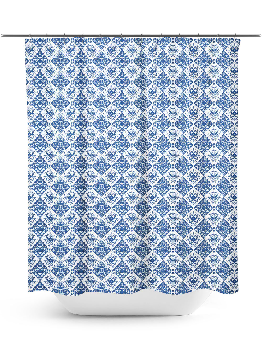 Blue and white diamond pattern shower curtain