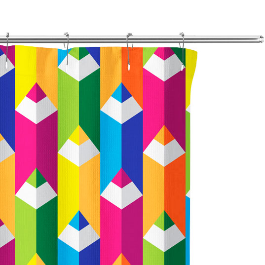 color pencil shower curtain close up image