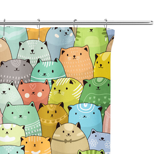 cat pattern shower curtain close up image